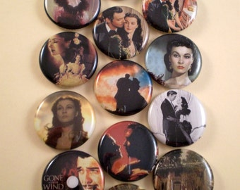 """Gone With the Wind Magnets, Gone With the Wind Wedding, Gone With the Wind Pins, Gone With the Wind Favors, 1"""" Inch, Flat Back, Hollow, 12ct"""