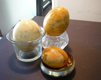 Marble Eggs - Three varieties in creams, tabby and brown marbled pattern - collectible - excellent condition - great display decor prop gift