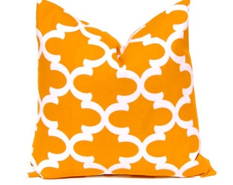 Burnt Orange Pillow Cover - Decorative Throw Pillow Cover - Fall Pillows - Pumpkin Orange and Charcoal Gray Moroccan Tiles