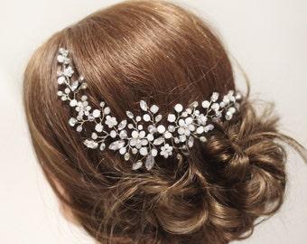 White Bridal Haedpiece Wedding hair piece Bridal Hair Accessories Flower hair vine Crystal hair vine Back headpiece Floral hair accessory