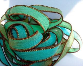 5PC. SAND & SEA 42 inch silk ribbon//Silk Wrist Wrap Ribbon// Silk Wrap Yoga Bracelet Ribbons//Silk Ribbons//By Color Kissed Silk LLC