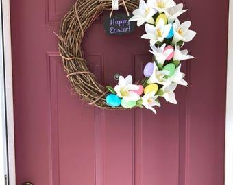 Happy Easter! Grapevine Wreath for Front Door-Easter Lillies, Easter Eggs, Happy Easter Sign