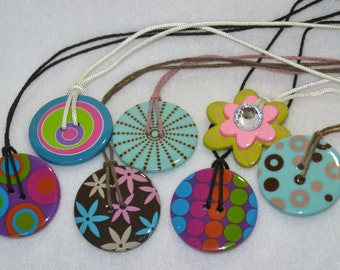 Large Button Necklaces, Button Pendant, Button Charm, Button Jewelry, Upcycled Jewelry, Sewing Necklace, Multicolor, Colorful, Geometric