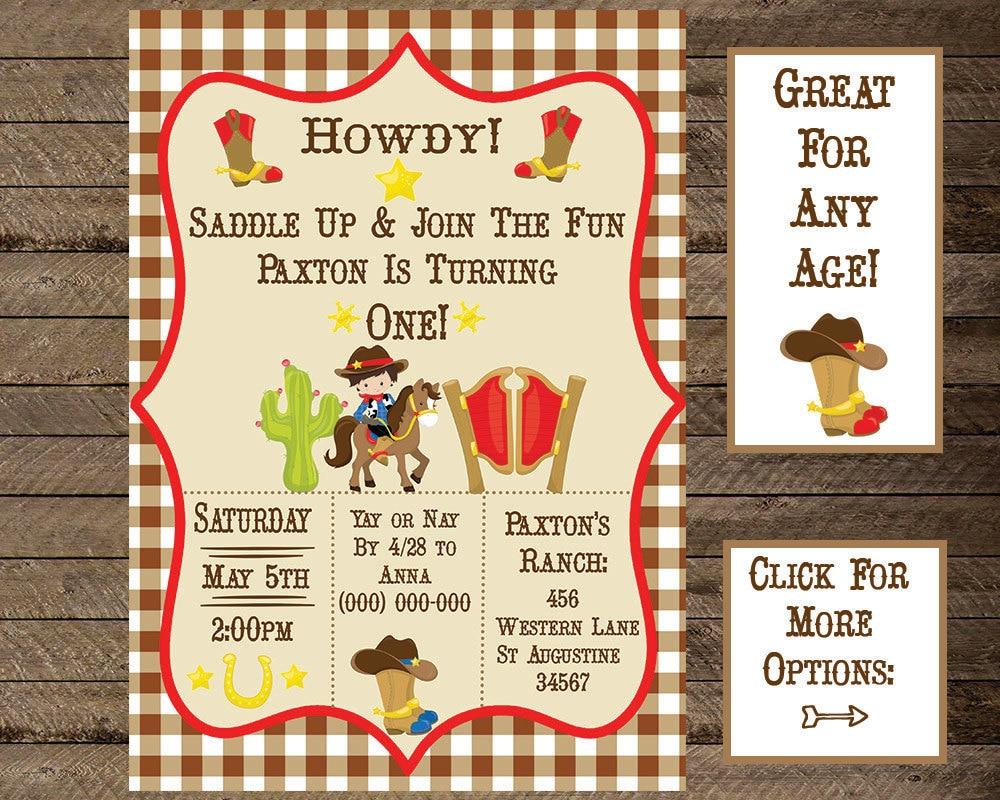 cowboy invite cowboy invitation cowboy theme birthday boys