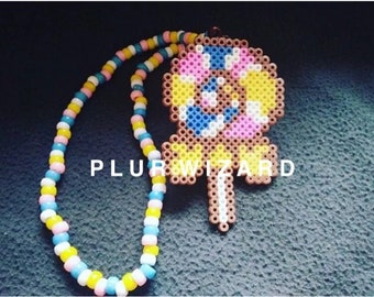 PLURWIZARD Lollipop edm diy rave kandi perler led light flashing pacifier rave necklace rave accessories
