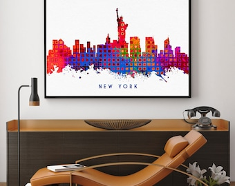 New York Skyline Art, New York Print, New York City Wall Art Decor, Home Decor, Skyline Glicee Poster (N113)