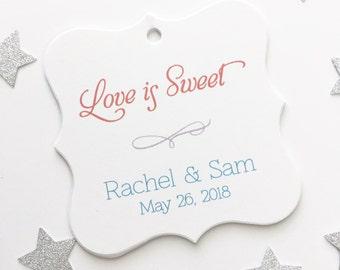 Wedding Favor Tags, Love is Sweet Custom Wedding Tags, Custom Wedding Hang Tags  (FS-011)