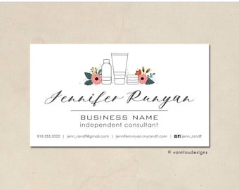 printable - skin care business cards - mommy calling cards - original hand illustrated floral bottles - personalized - small business - DIY