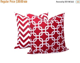 15% Off Sale RED PILLOW Decorative  Pillow Covers - Red Pillow Cover - Chain - Decorative Pillow Chevron Accent Pillow Sofa Pillows Lattice