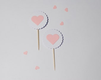10 Cupcake Toppers Heart BabyPink