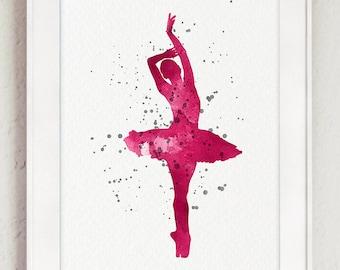 Pink Ballerina Art Print, Ballet Dancer Decor Baby Girl Nursery Painting, Watercolor Silhouette, Shabby Chic Modern Rustic Kids Room Art