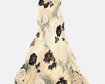 90's Nostalgia Neutral black Roses maxi Bias Cut empire gown S