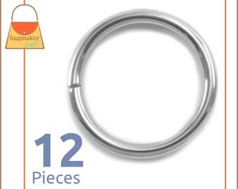 "1-1/4 Inch Nickel / Silver O Rings, 12 Piece Package, Purse Handbag Bag Making Hardware Supplies, 1-1/4"", 1.25 Inch, 1.25"", RNG-AA166"