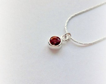 Sterling Silver Garnet Necklace Garnet Pendant Gifts for Her January Birthstone gifts under 25 Gemstone Jewellery