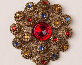 Red,Blue and Yellow Rhinestone Dress Clip Circa 1940s