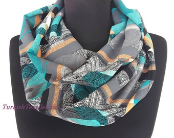 BIG SALE Green Infinity Scarf Green Abstract Print Fashion Scarf Loop Scarf Circle Scarf Cotton Scarf Viscose Scarf
