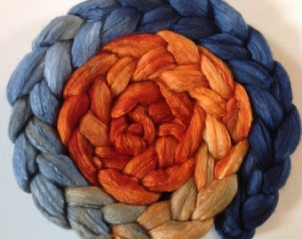 Hand Dyed roving for spinning or felting 3.5ozs polwarth mulberry silk 70/30 pre order