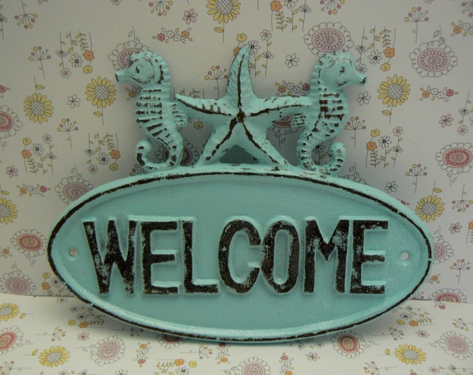 Seahorse Starfish Welcome Cast Iron Door Sign Blue Shabby Chic Cottage Chic Beach Home Decor
