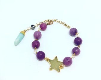 Handmade Jade Bracelet // Druzy Star Bracelet //  Agate Bracelet // Friendship Bracelet