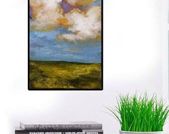 Original Landscape Painting, Birds Flying, Clouds, Blue Sky, Bird Painting, Winjimir, Home Decor, Design, Gift, Wall Decor, Wall Art, Art