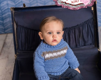 Instant Download- Crochet Pattern- Isaac Sweater Infant and Toddler Sizes