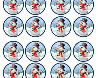 Christmas Snowman #3 Edible Wafer Rice Paper Cake Cupcake Toppers x 24