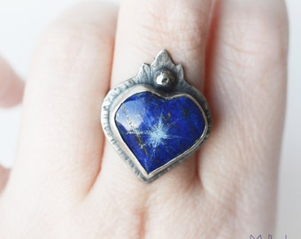 North Star Sacred Heart Sterling Silver and Lapis Lazuli ring, bleeding heart, flaming heart, sacred heart, hammered, textured, blue