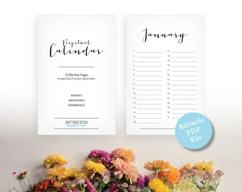 Simple Fun Perpetual Calendar - Birthday Calendar - Anniversary Calendar - Eternal Planner - Instant Download PDF