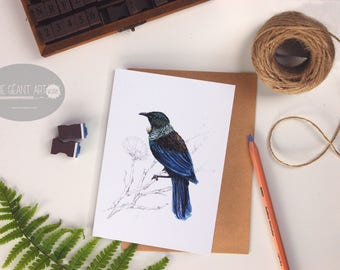 Tui folded card from the New Zealand native birds series by Emilie Geant, from original watercolor painting