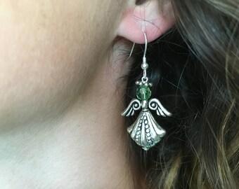 "Angel Jewelry, Angel Birthstone Earrings, ""Megan"""