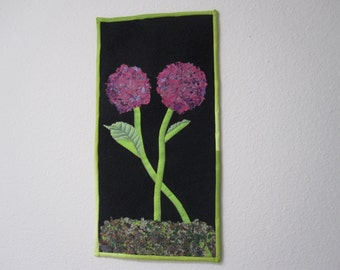 Pink and Purple Flowers Quilted Wall hanging.
