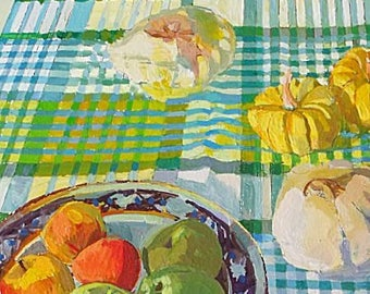 Philip Hogben Original OIl Painting - Still Life Of Fruit On A Tablecloth