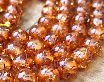 Resin Amber Round Beads 8  or 10 mm  / Golden Amber Beads / Amber Beads  /  Copal Amber Coloured Barley sugar Beads