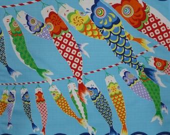 Japanese Fabric Square Boy's Day Furoshiki 'Seigaiha Koinobori' Carp Streamers Blue Cotton Boy's Day 50cm w/Free Insured Shipping