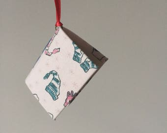 Mini Book Christmas Ornament with Hats and Mittens Book Cloth