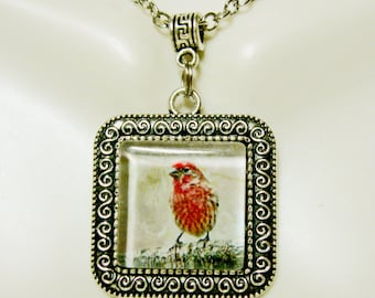 Red bird on a limb pendant with chain - BAP02-002