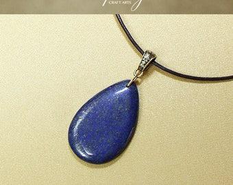 Gemstone Lapis Lazuli pendant necklace, Lapis Lazuli Drop pendant, Genuine leather necklace, Third Eye Chakra jewelry, InfinityCraftArts
