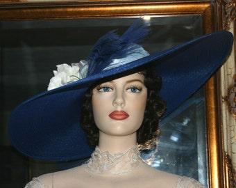 "Kentucky Derby Hat Ascot Hat Wide Brim Hat Southern Belle Hat Tea Party Hat 22"" Wide Brim - Sweetheart of Georgia"