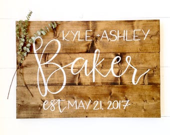 Large Family Name Wood Sign, Last Name Sign, Wedding Sign, Last Name Wood Sign, Family Established Sign, large last name established sign