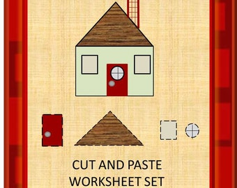 Teaching Materials, Instant Printable, Back to School, Home School, Fun With Shapes Cut and Paste PK,K,Special Education, Autism