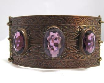 Medieval Style Three Link Bracelet Large Amethyst Color Stones