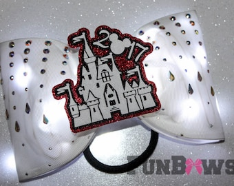 Gorgeous  - special event - White tail-less Castle LED Light up bow with AB  Rhinestones and a 3-D cutout by FunBows !