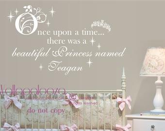 Once Upon A Time Princess Wall decal - Princess Decal - Girl's Bedroom Wall Decal - Nursery Wall Decal - Nursery Wall Art - Wall Decor