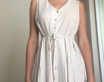 Beige long button down waist-tie maxi dress, S/M/L
