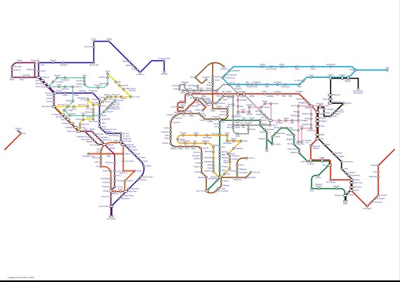 World map poster a subway map tube map metro map of the world map poster a subway map tube map metro map of the world art print gumiabroncs Gallery