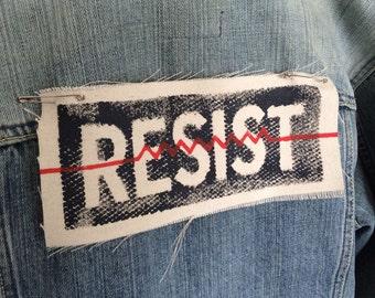 Resist patch,Resist,back patch,political patch,resistance,social justice,patches for jackets,punk patches,activist patch,canvas patch,M