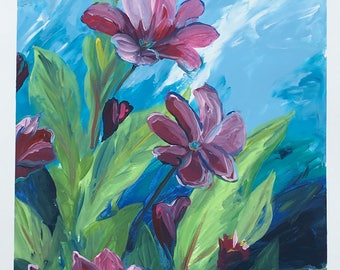 Acrylic Painting on Paper Floral Original Home Decor Flowers Nature: Late Afternoon