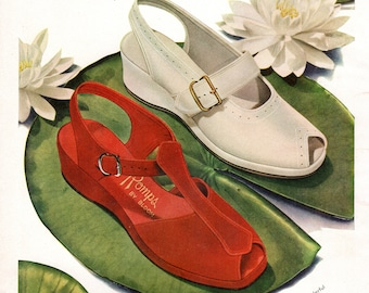 1940's Shoe Advertsment Color ROMPS Casuals with Floatin Comfort Sandals/Shoes Bloom-ease Minneapolis FREE SHIPPING