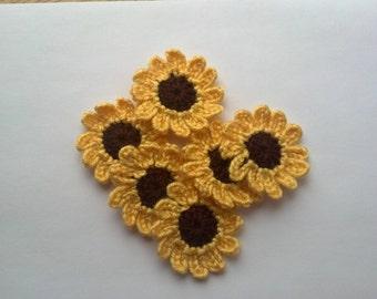 Crochet Applique Sunflowers x 6 Handmade Crochet Flower Appliques