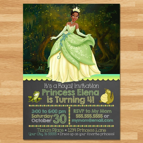 The Princess and The Frog Birthday Party Invite